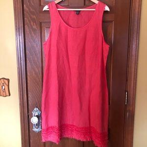 Tommy Bahama Coral 100% Linen Ruffle Bottom Dress